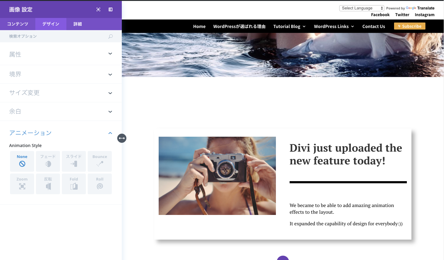 divi new feature demo screenshot